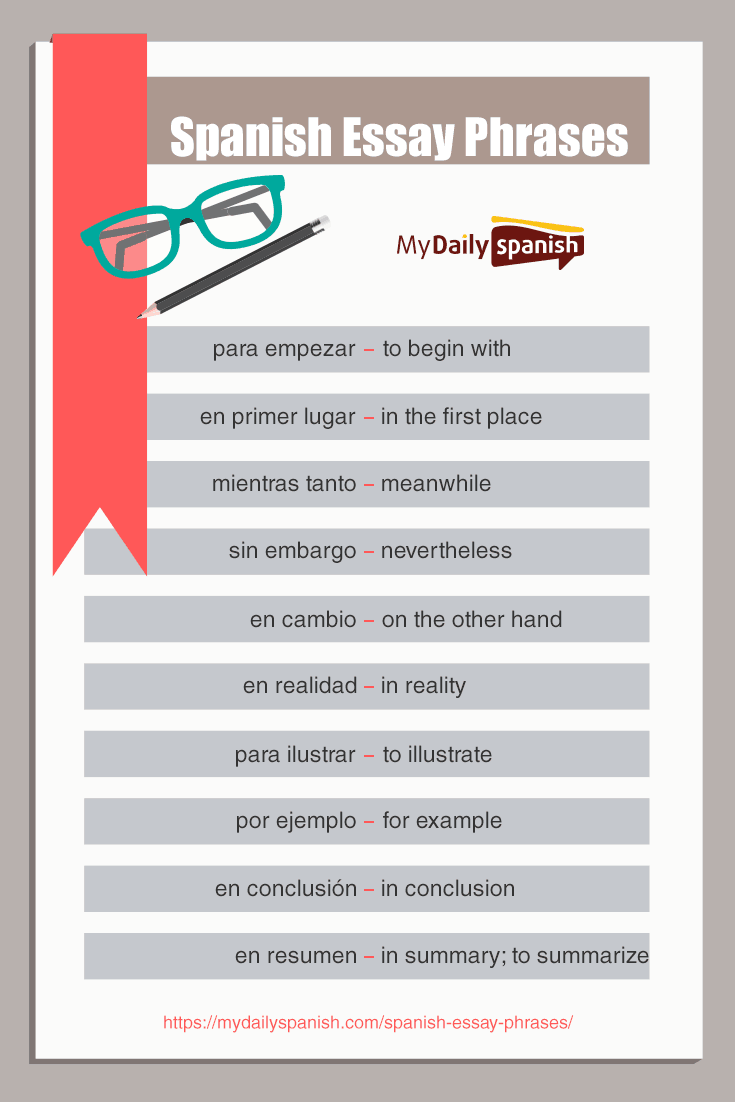 Spanish essay phrases pinterest
