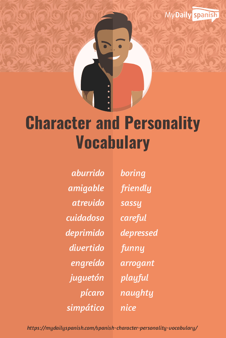 spanish personality vocabulary  115 words to describe