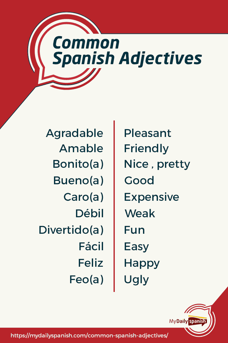 100 Most Common Spanish Adjectives Pdf My Daily Spanish